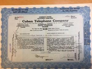 1950年代のキューバン・テレフォン・カンパニー社の株券。株式市場復活の日は近い?