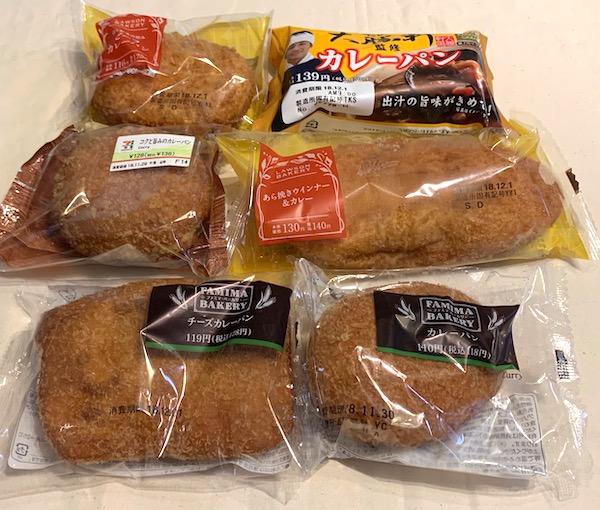 コンビニ3社で販売されているカレーパン