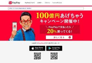 「PayPay」は前代未聞の「100億円あげちゃうキャンペーン」を打ち出した(HPより)