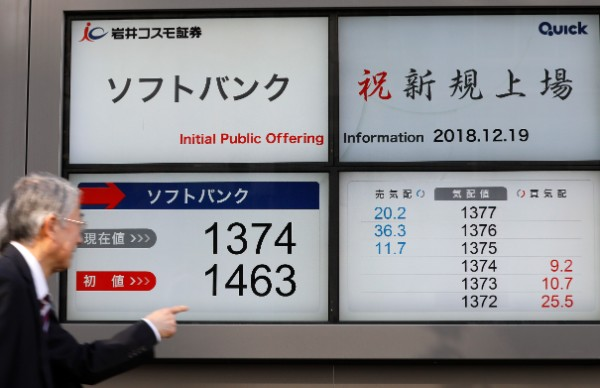 公開価格は1500円、上場初値は1464円だった(EPA/時事)
