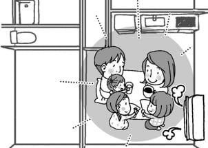 エアコンはリビングにしかないので自然と家族が集まる(イラスト:池田奈鳳子)