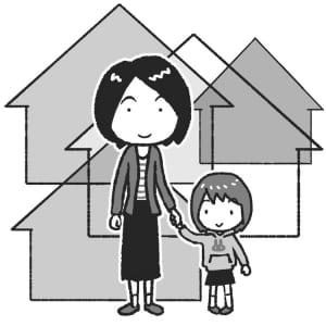 シングルマザーになっても家を購入したい(イラスト:岩井勝之)