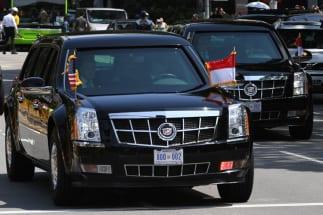 トランプ大統領の専用リムジンは特注車(AFP=時事)