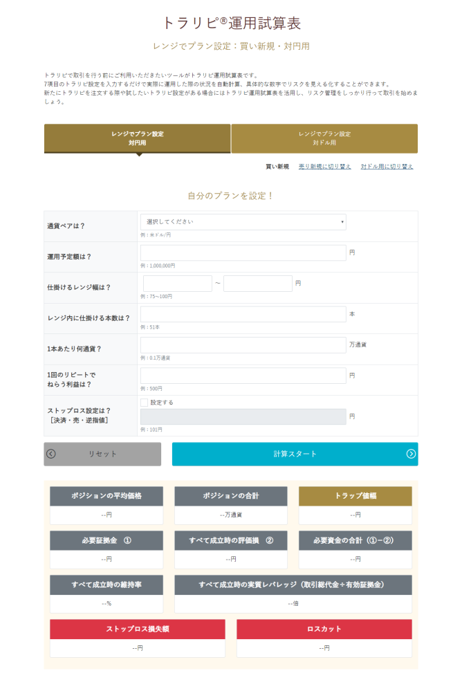 マネースクエアが提供するトラリピ運用試算表(口座開設後に利用可能)