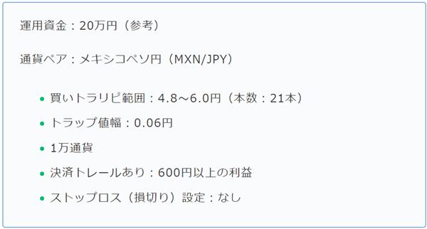 のがたかさんオリジナルのメキシコペソ/円トラリピ設定