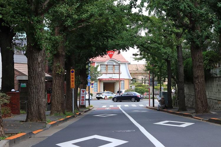 並木通りから見る田園調布の復元駅舎