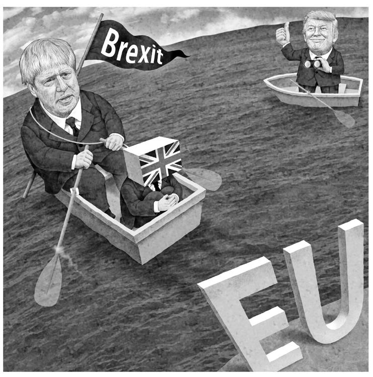 「イギリスのトランプ」とも称されるジョンソン首相はブレグジットに突き進もうとしている(イラスト/井川泰年)