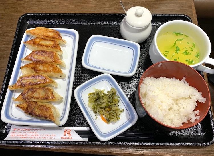 リンガーハットランチ限定の「薄皮ぎょうざ7個定食」(370円)