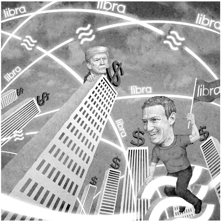 フェイスブックの仮想通貨「リブラ」はグローバル通貨になり得るか(イラスト/井川泰年)
