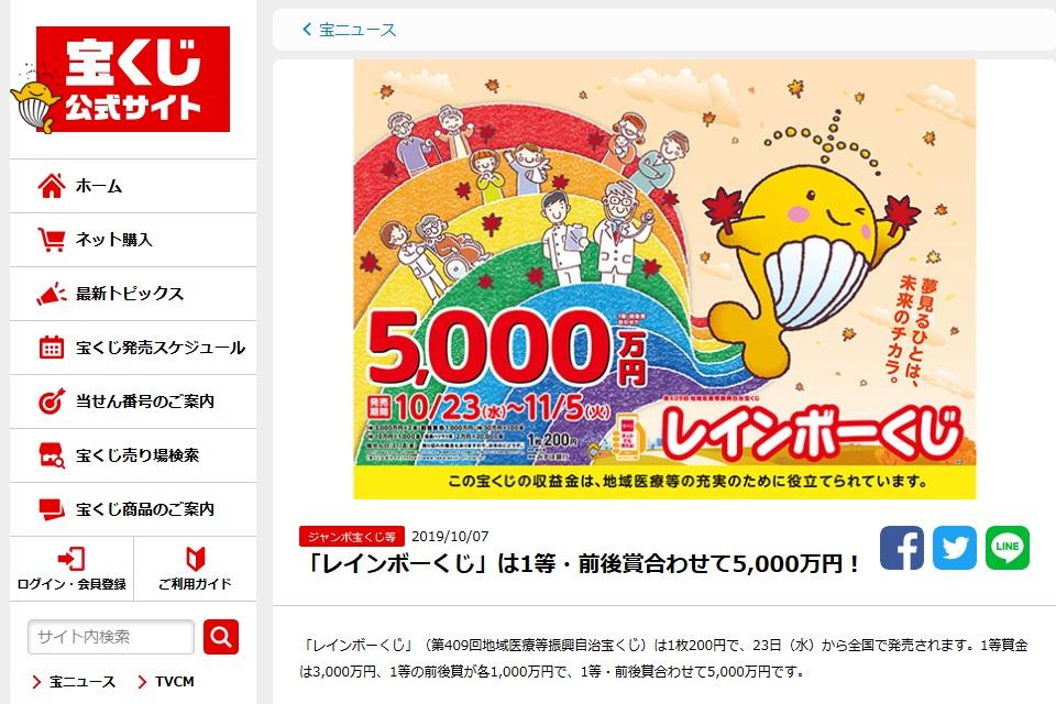 1等・前後賞合わせて5000万円(宝くじ公式サイトより)