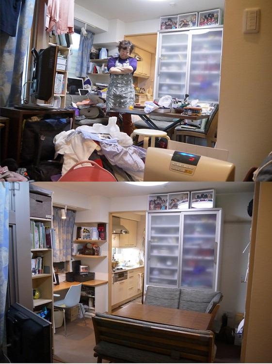 それまでテキトーにものを置いていたという部屋(上)が、土日の掃除でこんなにキレイに(下)