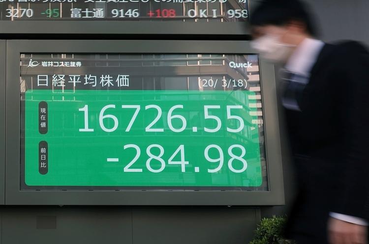 コロナ・ショックで日経平均株価も大幅下落(写真:時事通信フォト)