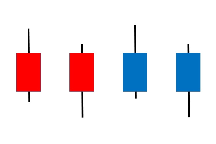 左から「上影陽線」「下陰陽線」「上影陰線」「下陰陰線」(イメージ)