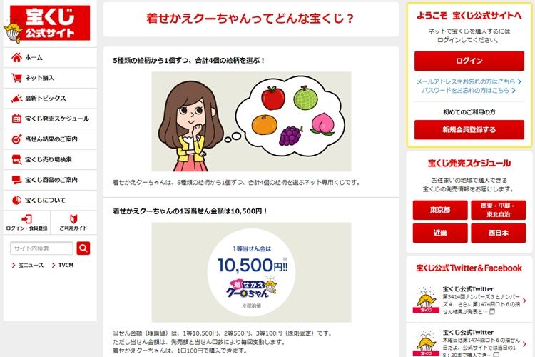 「着せかえクーちゃん」は100円から購入可能(「宝くじ公式サイト」より)