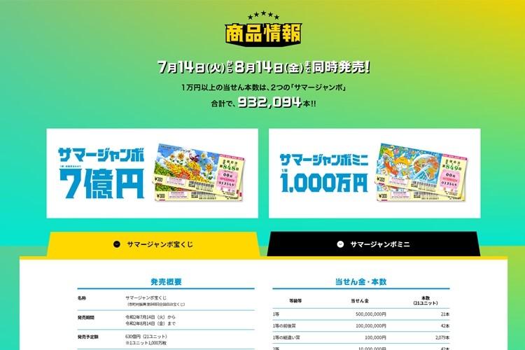 今年のサマージャンボは8月14日まで販売(「宝くじ公式サイト」より)