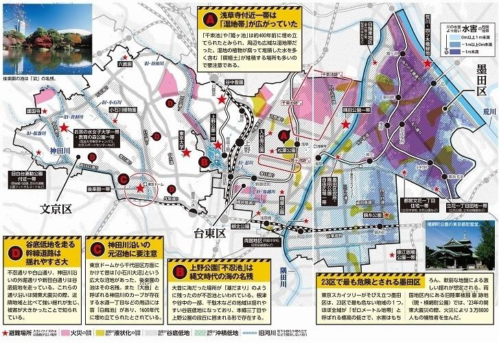 文京区・台東区・墨田区のハザードマップ
