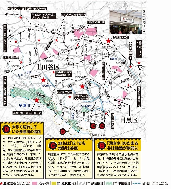 目黒区・世田谷区のハザードマップ