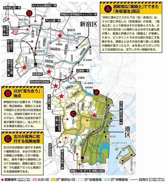 新宿区・港区のハザードマップ