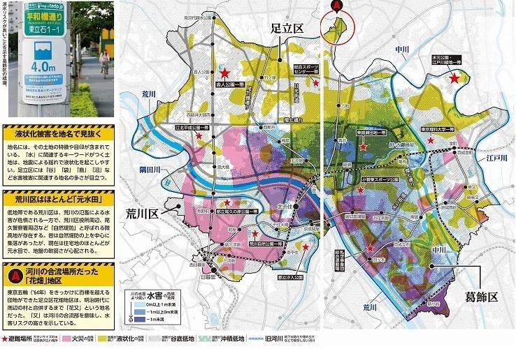 足立区・荒川区・葛飾区のハザードマップ