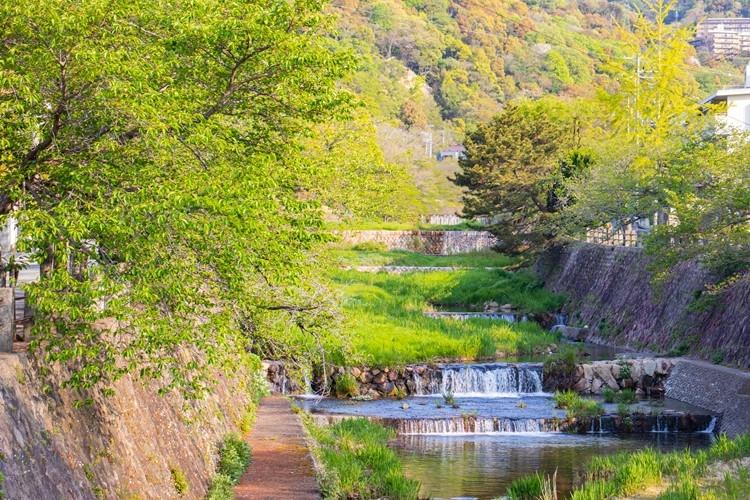 六麓荘町から最寄りの阪急芦屋川駅まで徒歩約30分(写真は芦屋川)