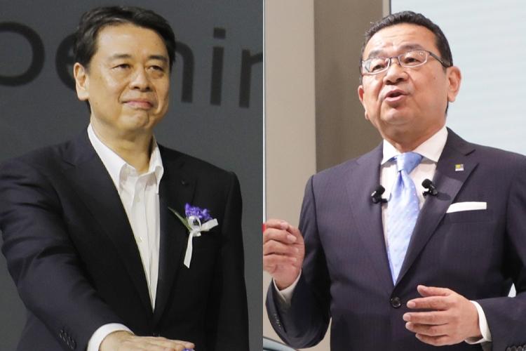日産の内田誠社長(左)とホンダの八郷隆弘社長(時事通信フォト)