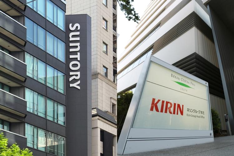 オーナー企業と三菱系列(サントリー本社=左とキリン本社。時事通信フォト)