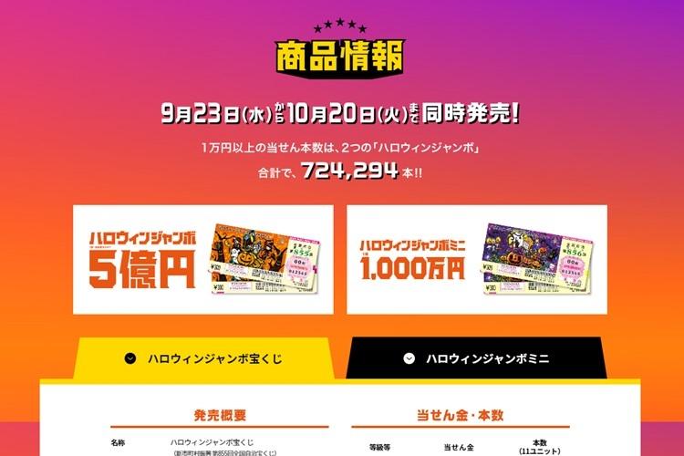 今年のハロウィンジャンボ宝くじは10月20日まで発売(「宝くじ公式サイト」より)