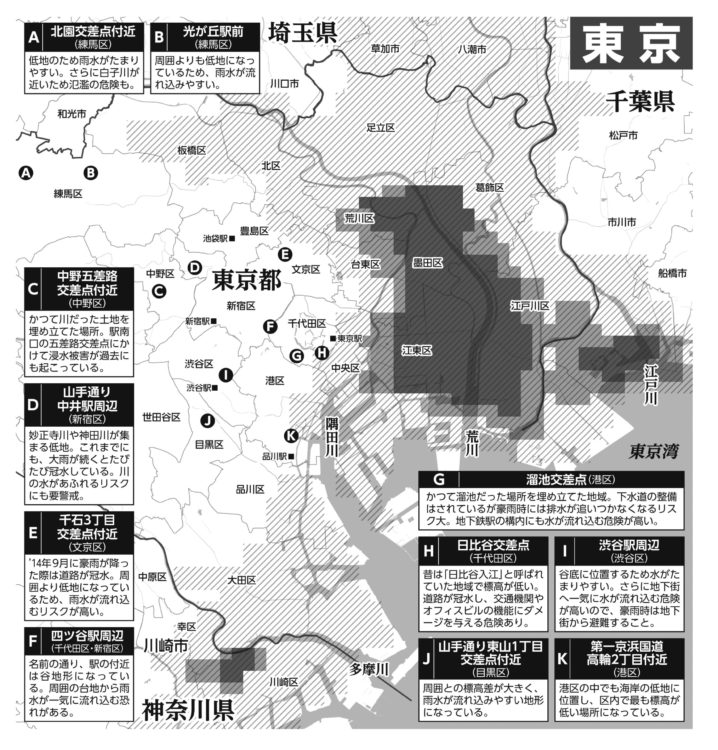 東京の浸水危険度マップ(東京大学・早稲田大学の発表による。2005年9月の「杉並豪雨」を想定し、1時間に50mmを超える雨が2時間半にわたって降ったとき、浸水が1mを超える地点を抽出)