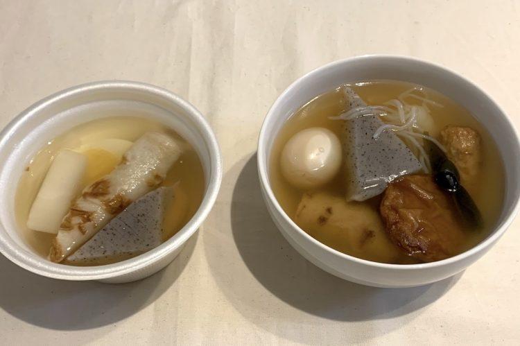 ファミリーマートの『焼津産かつお節だし使用 5品目のおでん』(左)、『和風だし香る8品目のおでん』(右)