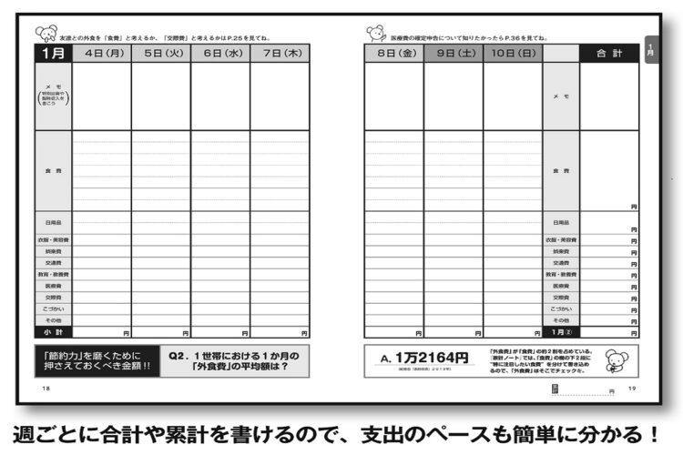 『家計ノート』による週ごとの支出管理で、無駄遣いを減らすことも