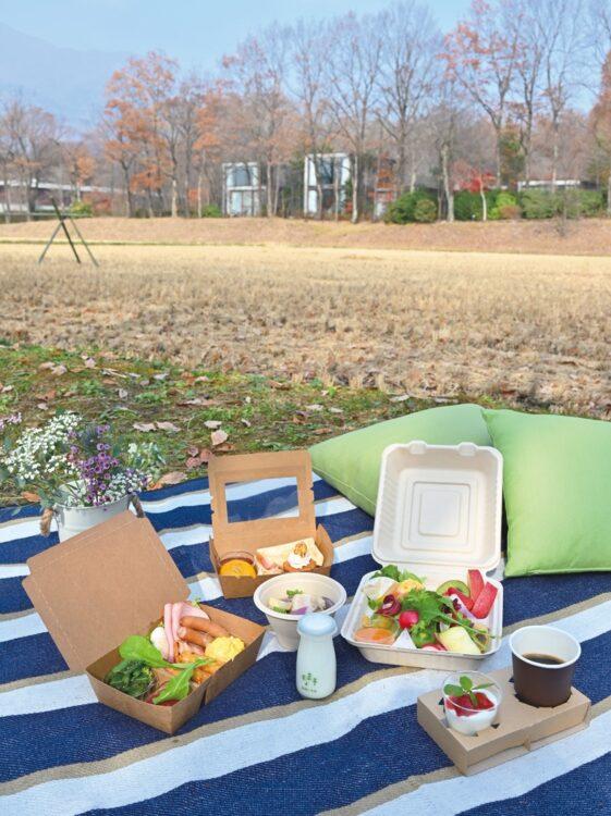 彩りも鮮やかなテイクアウト用のリゾナーレ那須の朝食。客室はもちろん、敷地内の好きなところで楽しめる。これで1人前、ボリュームも満点