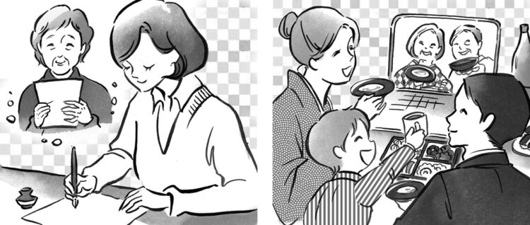 【A】「いつでも送れてなじみ深い電話やメール、手紙」(左)【B】「顔を見せられるオンラインビデオ通話」(右)