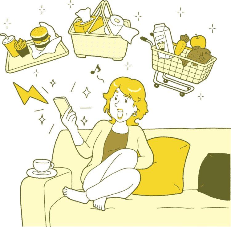 ネットスーパーの活用で無駄づかい削減も(イラスト/鈴木順幸)