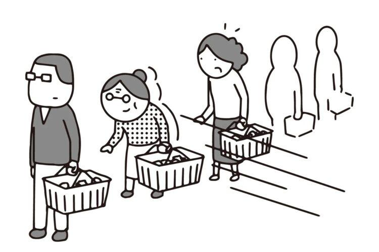何度注意してもいつも横入りする客にどう対処?(イラスト/大野文彰)
