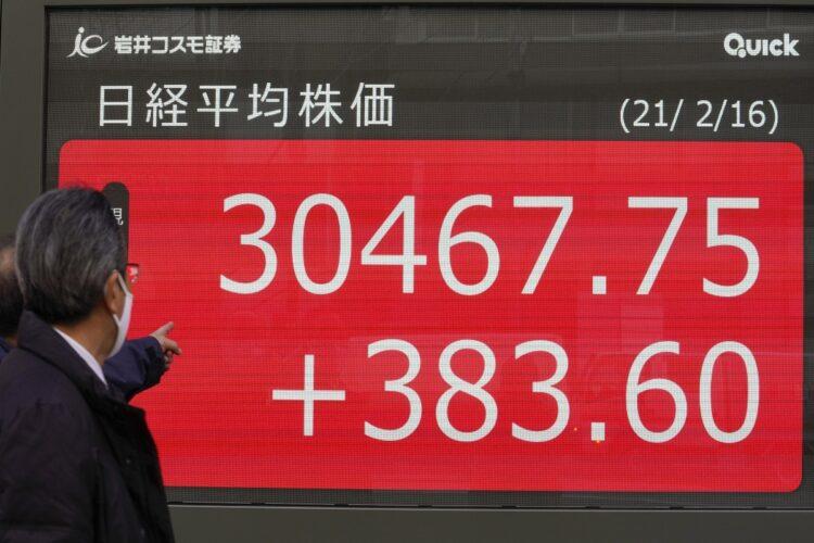 日経平均株価は異例のスピードで3万円の大台を突破(写真/時事通信フォト)