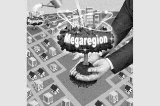 大都市とその周辺都市で構成される新しい経済活動単位のことを「メガリージョン」という(イラスト/井川泰年)