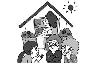 ひとりで移住して家にこもって仕事していると近所の目が…(イラスト/ドナ)