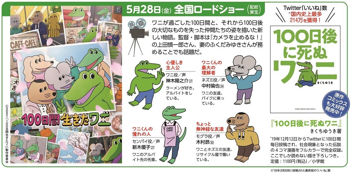 映画『100日間生きたワニ』は5月28日から全国ロードショー(配給東宝)。原作コミックス『100日後に死ぬワニ』も好評発売中(C)STUDIO KIKUCHI