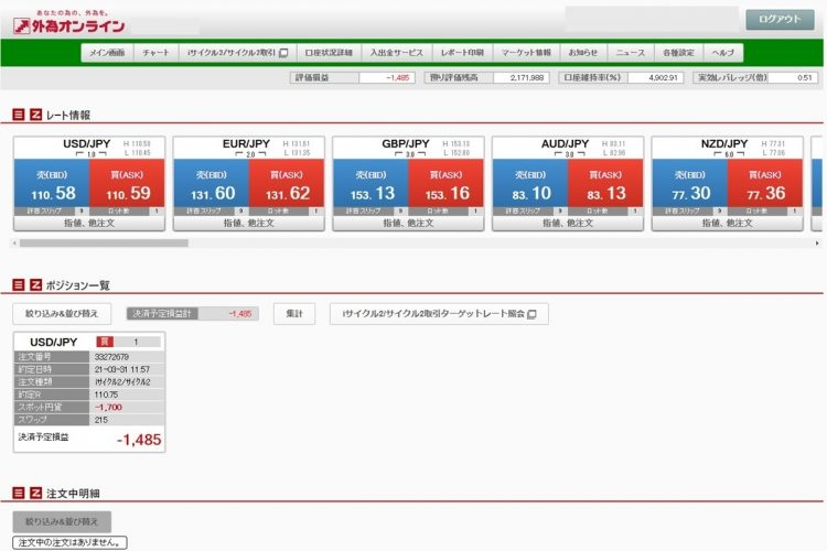 iサイクル2取引のツール画面TOP