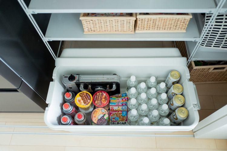 「収納ボックス」は防災用品の収納にも最適(写真はsora_muji_houseさん宅の備蓄品のひとつ)